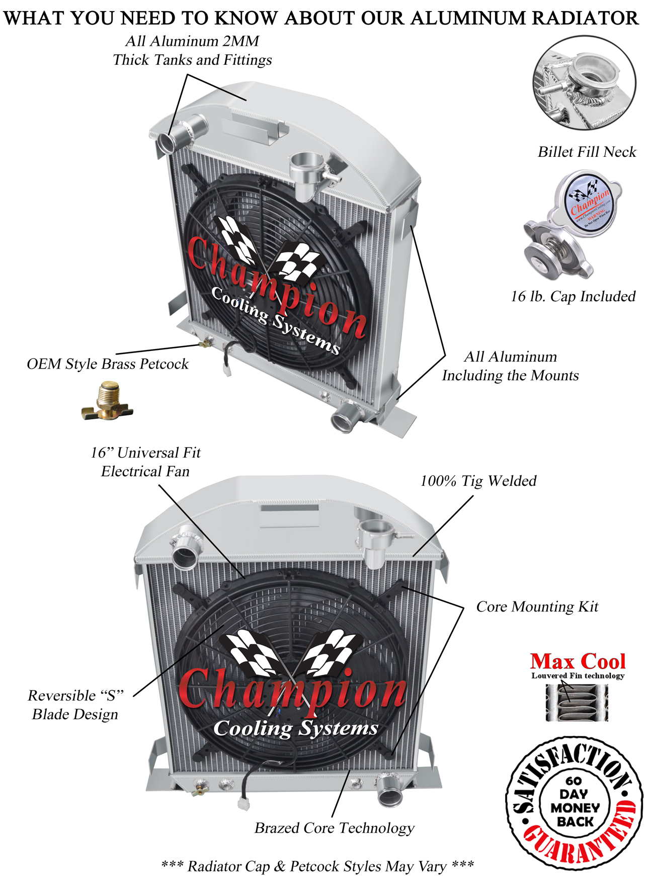 4 Row DR Champion Radiator for 1928 1929 Ford Model A Chevy Configuration