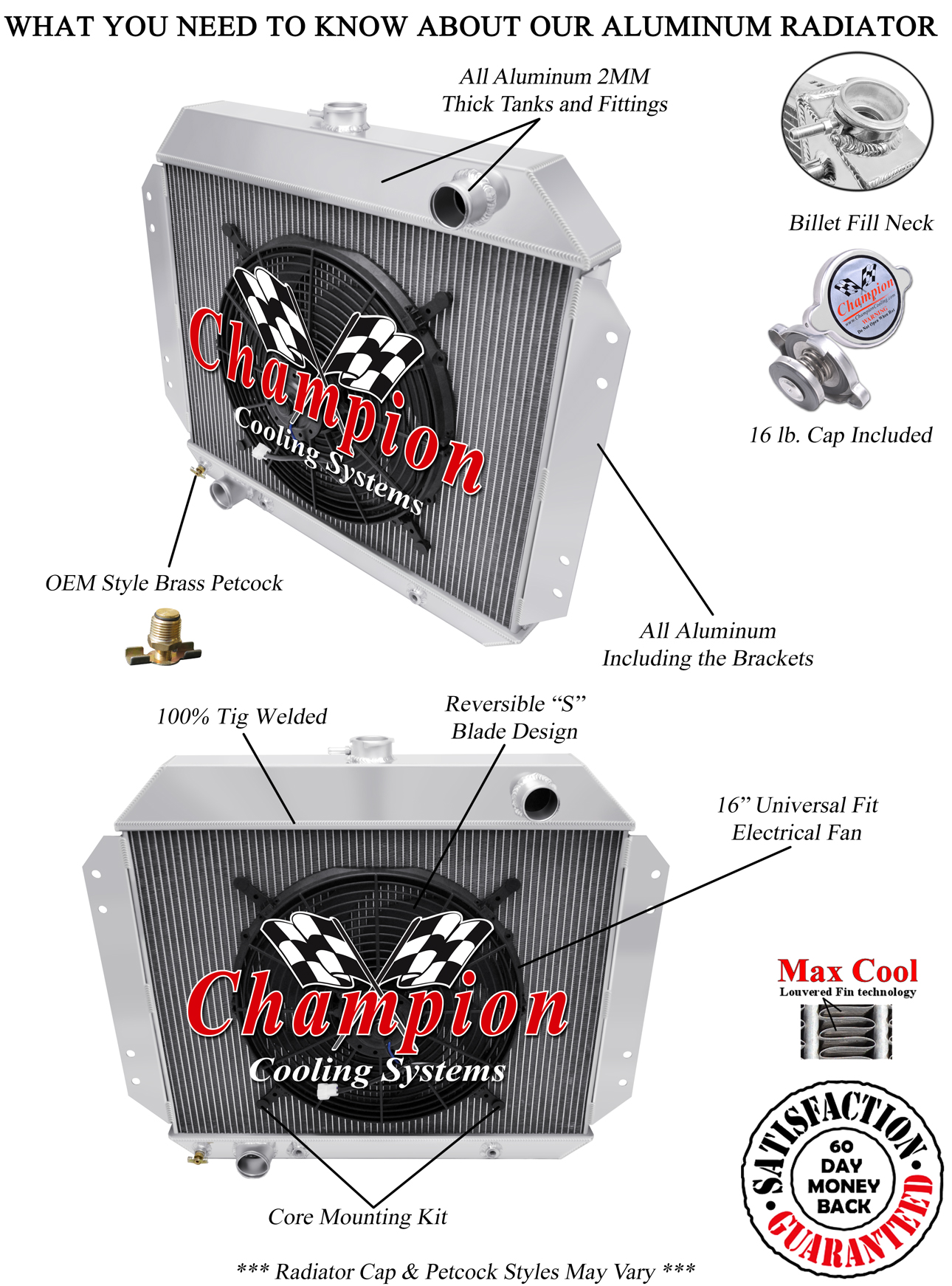 """3 Row Reliable Champion Radiator W/ 16"""" Fan for 1966 ..."""
