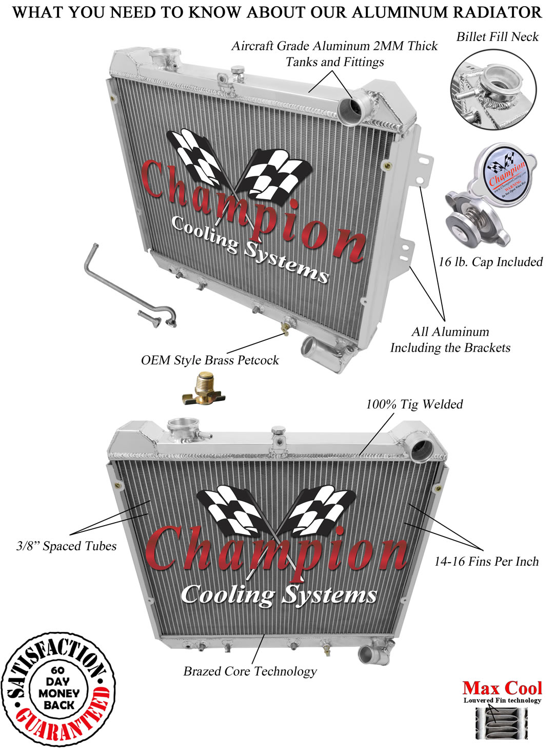 2 Row Reliable Champion Radiator For 1983 1984 1985 Mazda