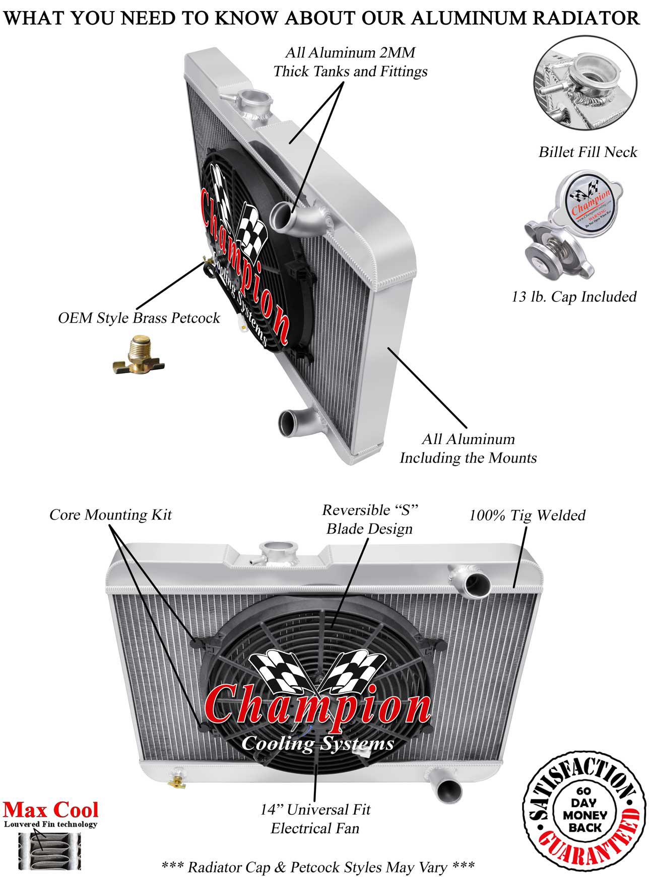 3 Row Reliable Champion Radiator W/ 14\ Fan for 1963 Pontiac LeMans V8  Engine   eBay [ 1742 x 1290 Pixel ]