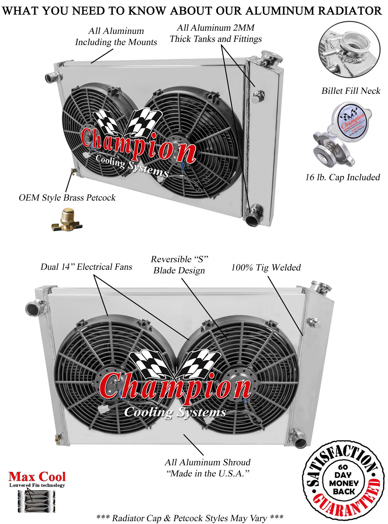 "Chevy C10 Pickup Custom Aluminum Radiator Fan Shroud /& 2-14/"" Fans 17/""H x 28 1//"